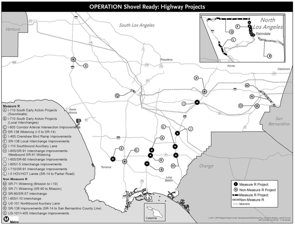 Metro Operation Shovel Ready Highway Projects map