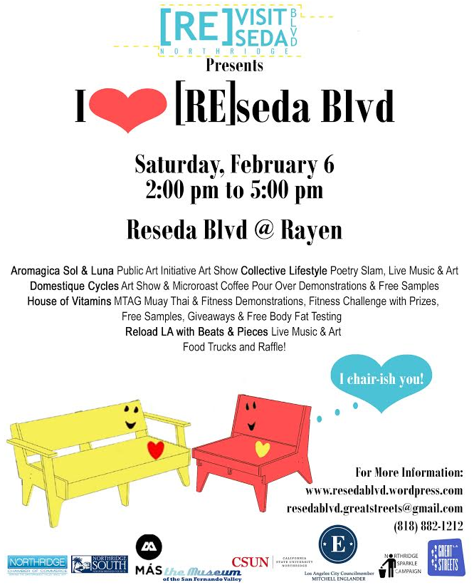 I heart Reseda Boulevard takes place tomorrow! Other Great Streets challenge grant activities happening later this month and next