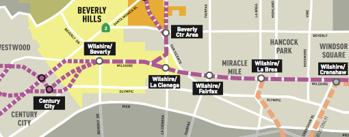 Early version of possible Purple Line Subway alignments studied through Beverly Hills. Image via Metro