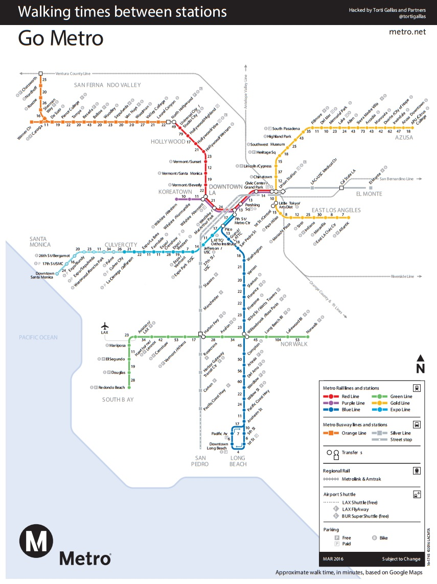 New Map Shows Walk Time Between LA Metro Stations