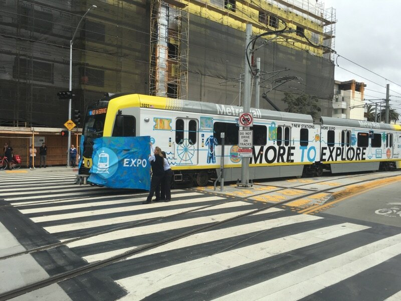 Inaugural Expo train pulls into Downtown Santa Monica station Friday, May 20. Photo courtesy of Benjamin Steers/City of Santa Monica