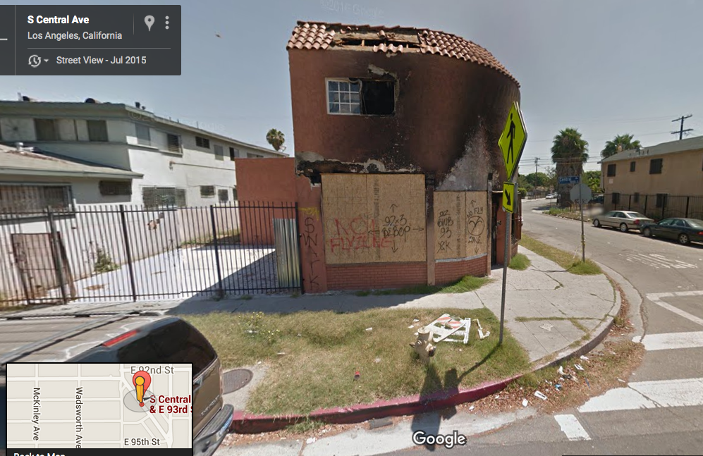 The structure was still standing, but boarded up, in July of last year. Source: Google maps.