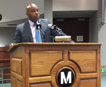 Phil Washington outlines the latest version of Metro's sales tax expenditure plan. Photo: Joe Linton