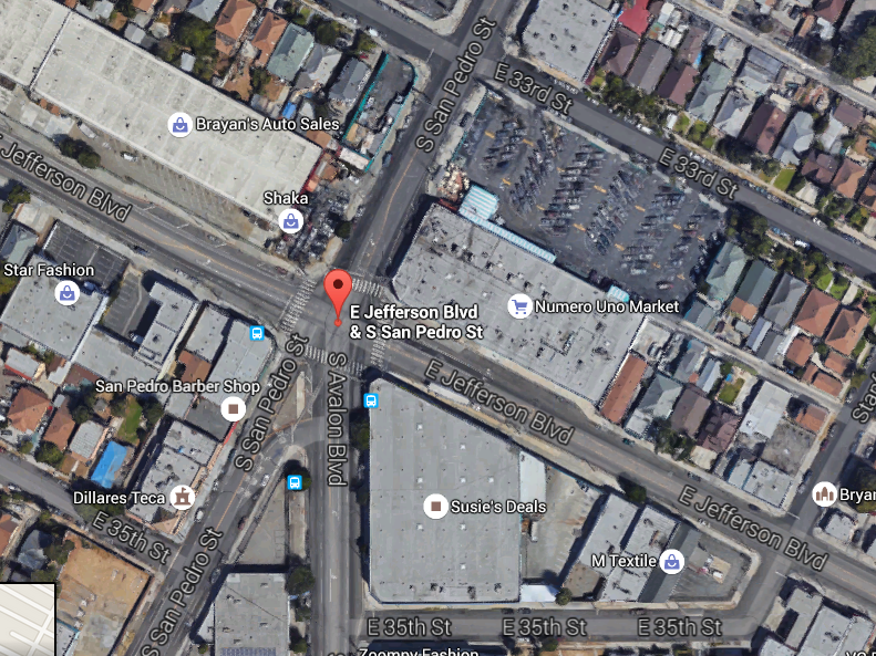 The intersection where San Pedro splits and Avalon begins requires a southbound cyclist to ride in the middle of a very busy intersection with cars careening by you on both sides. (Google maps)