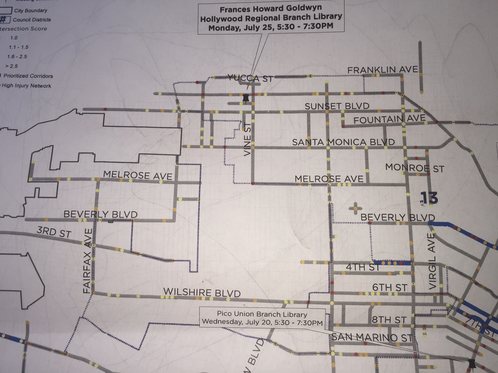 Vision Zero High Injury Network prioritized intersections/corridors detail map centered on Hollywood