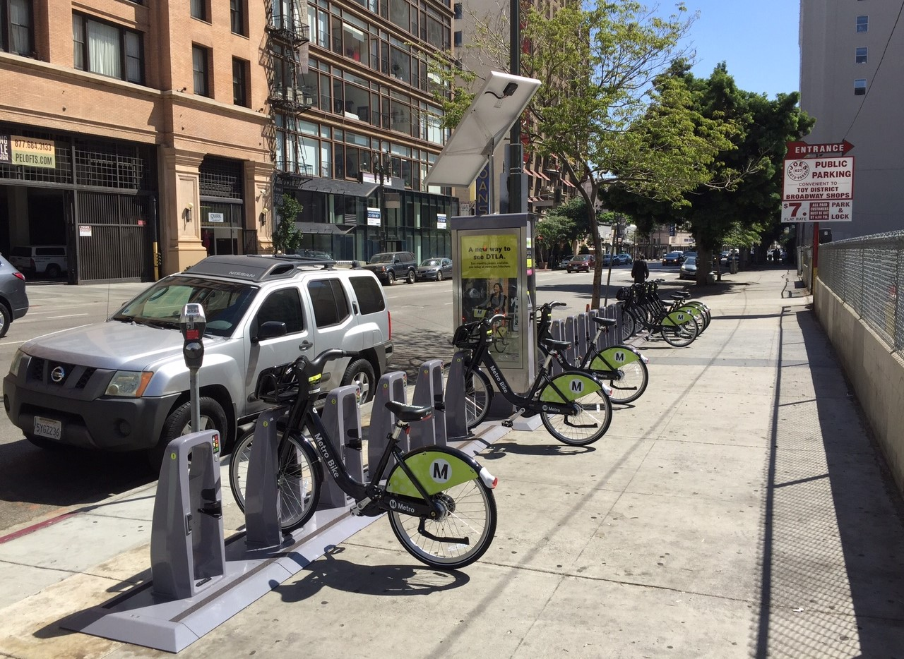 Metro Bike Share docking station on Main Street in downtown L.A.