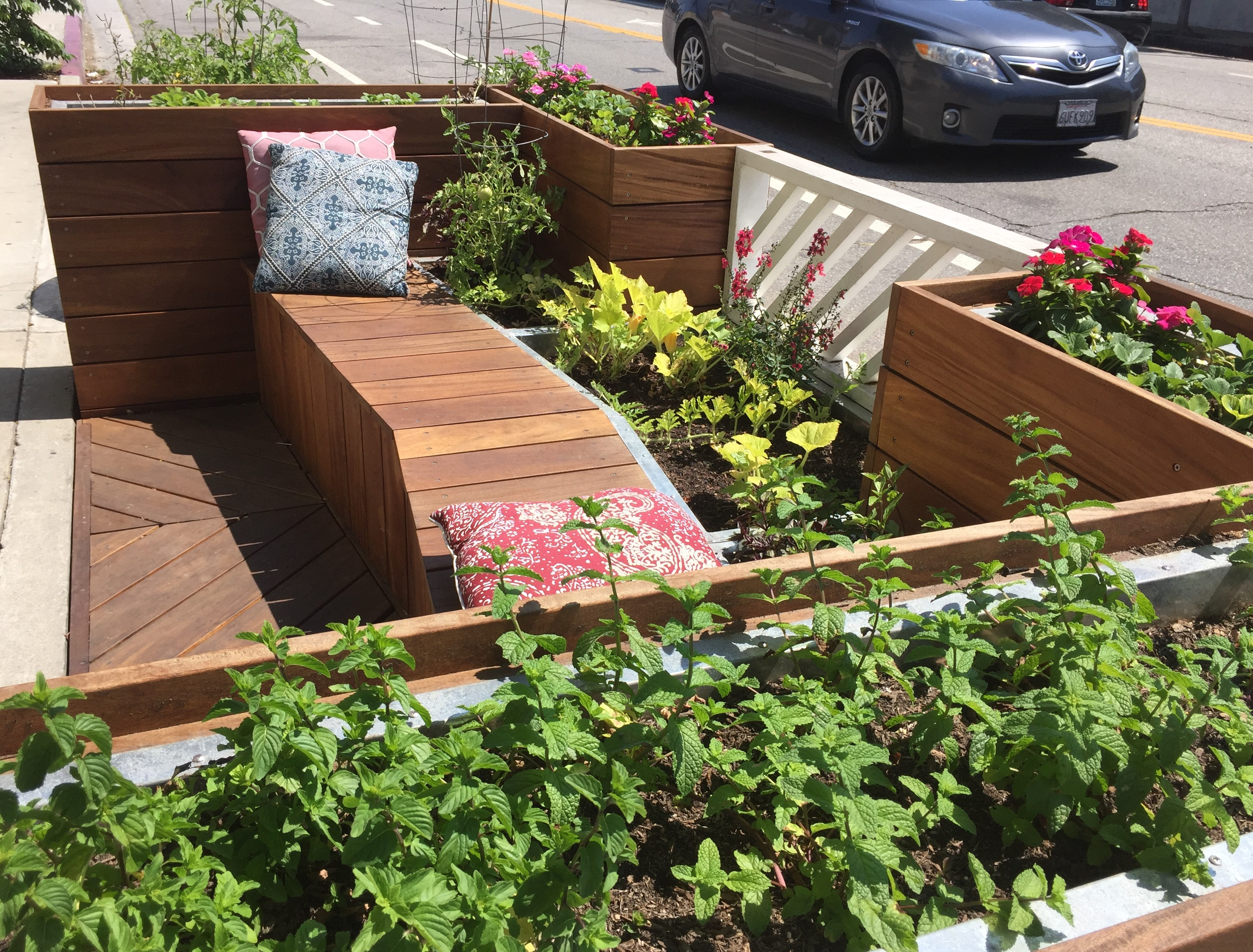 Herbs and vegetables in the north parklet