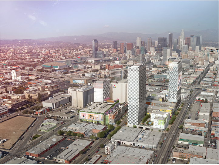 The massive billion-plus-dollar luxury housing and hotel project The Reef has planned for the corner of Washington and Broadway has the potential to anchor a major transformation of Historic South Central Los Angeles. Source: The Reef