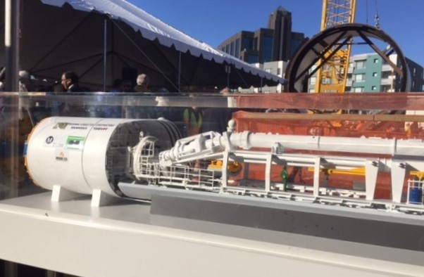 Scale model of the TBM with actual TBM shell in the background