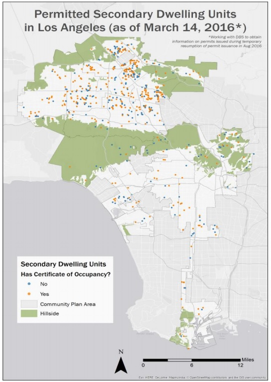 Map of permitted accessory dwelling units in the city of Los Angeles. Image via Department of City Planning [PDF]