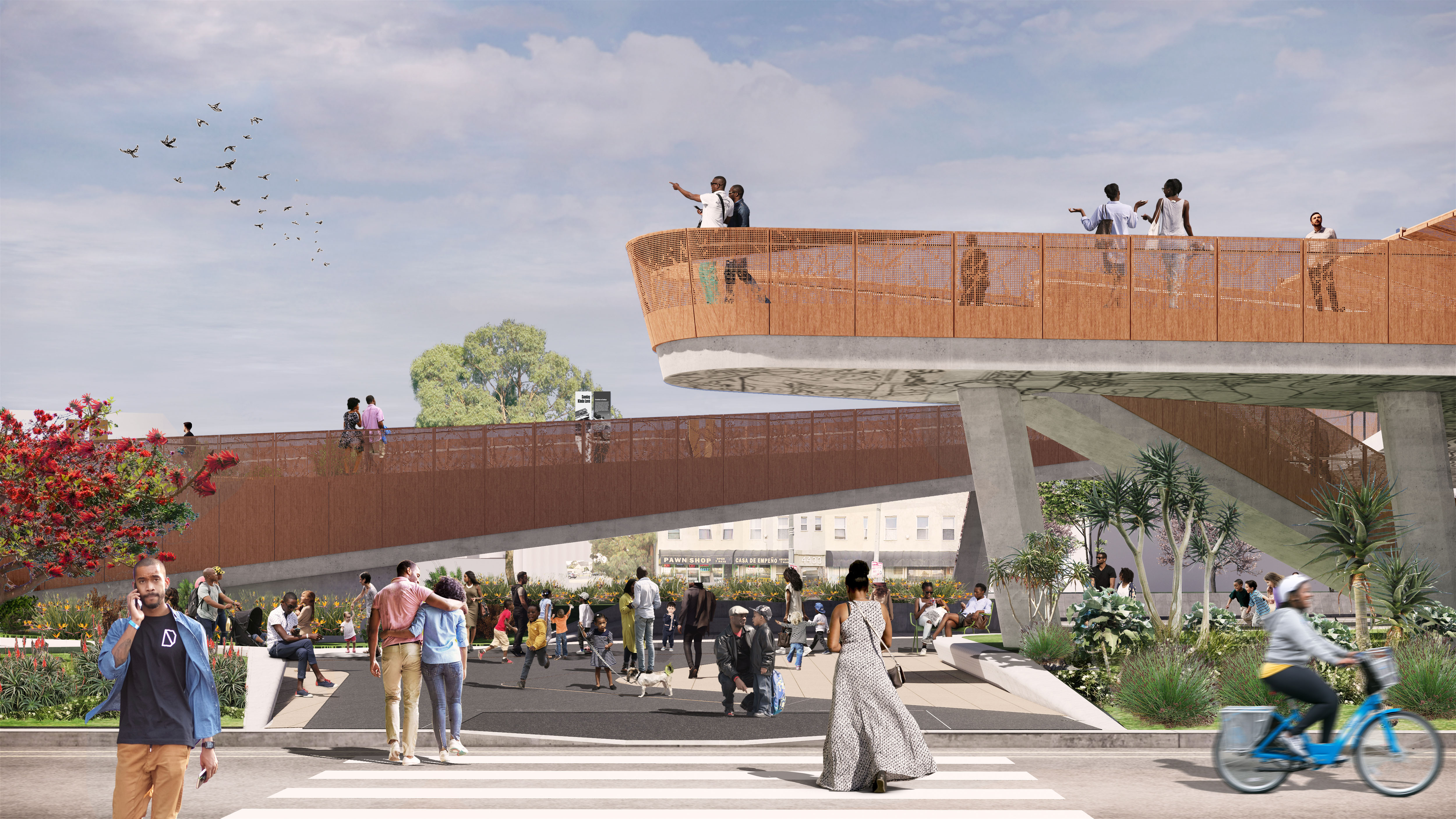 The vista from Sankofa Park, at the north end of Destination Crenshaw, will offer an opportunity to contemplate the entirety of the community's journey. Rendering: Perkins+Will