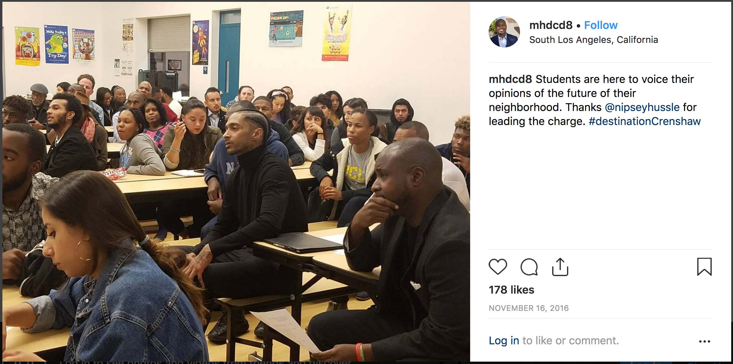 Nipsey Hussle (at center) and Councilmember Marqueece Harris-Dawson (at right) meet with students to talk Destination Crenshaw and the future of the community. [Click image to visit the original Instagram post]