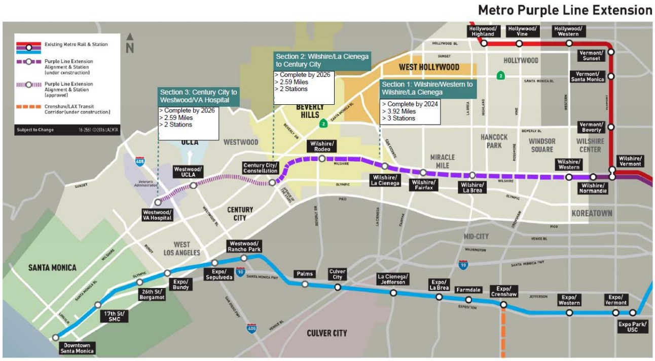 La Subway Map With City Map.Metro Expected To Approve Final Purple Line Subway Section 3
