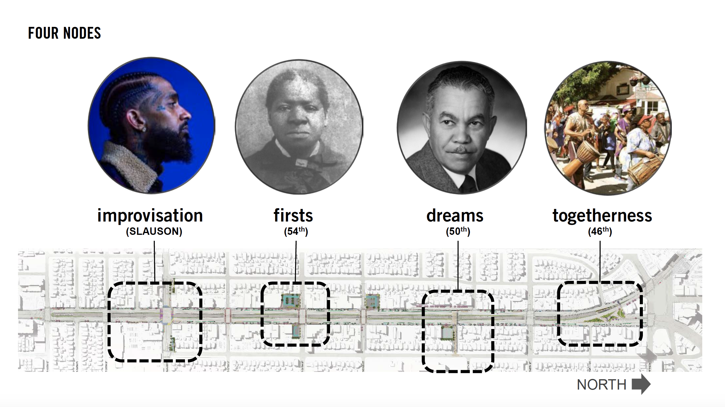The nodes take inspiration from the stories of Nipsey Hussle, Biddy Mason, architect Paul Revere Williams, and the unifying of the diaspora. Image courtesy of Destination Crenshaw