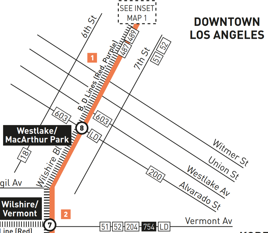Map of route 20 east of downtown Los Angeles, from timetable . Gives no hint where the line shifts to 6th St. Shows it on Wilshire east of Witmer. Incorrectly shows the 487 and 489 still operating on Wilshire which ended Sunday.