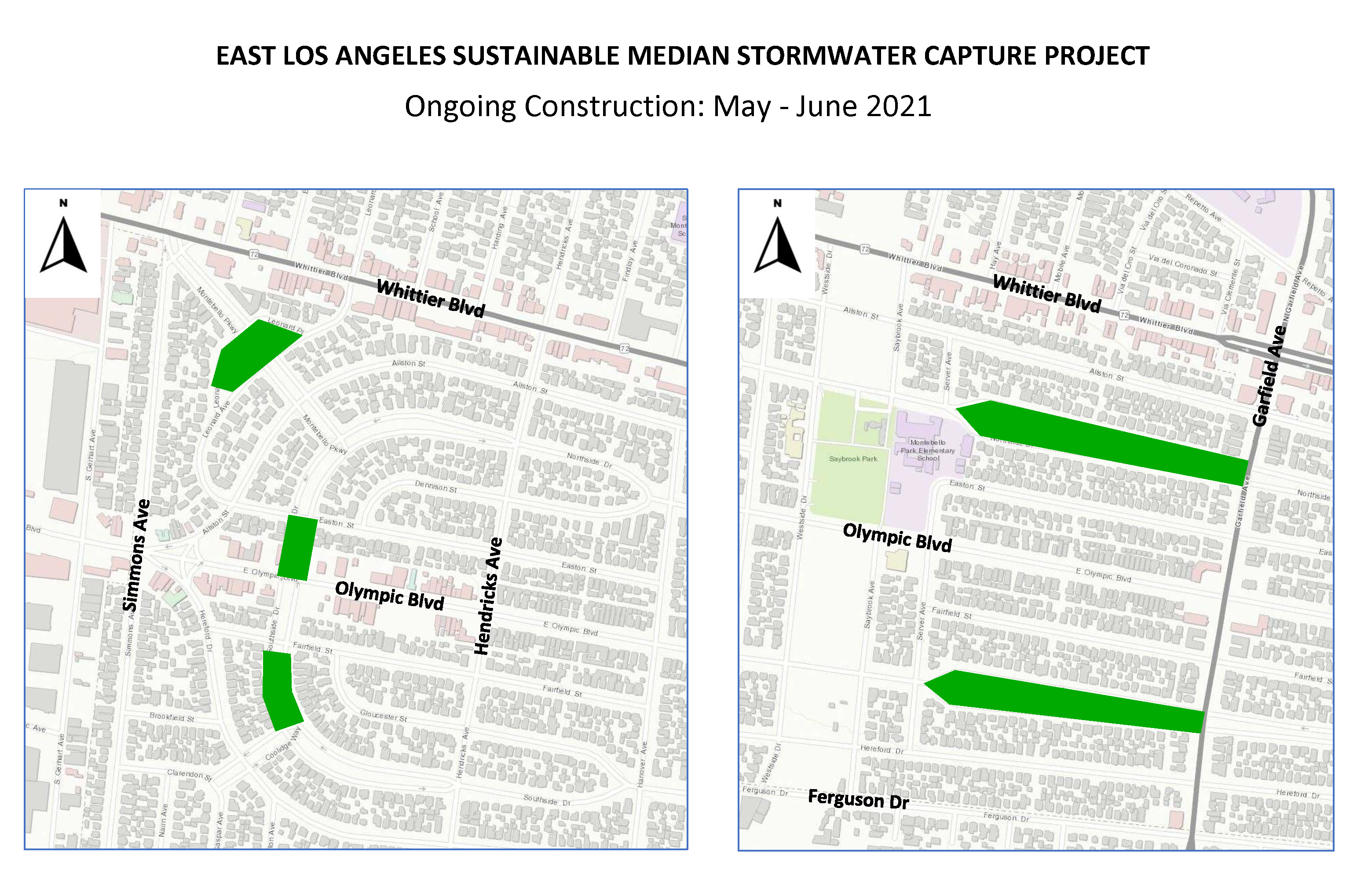 Map of East Los Angeles Sustainable Median Stormwater Capture Project. Image: Los Angeles County Public Works