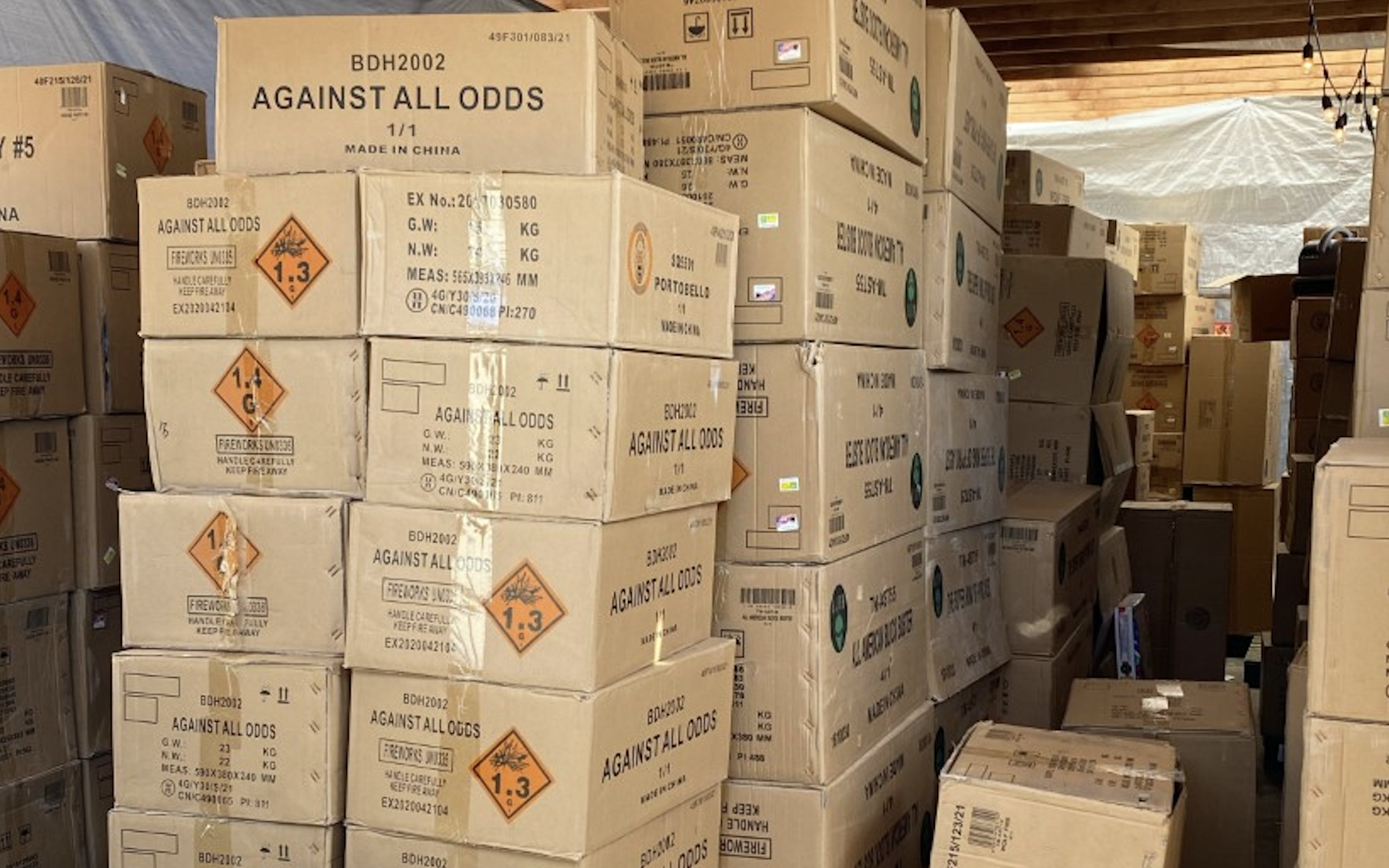 The boxes of commercial grade fireworks appear to range in weights from 13 to 29 kg/ea. LAPD said it found approximately 500 such boxes. Source: LAPD
